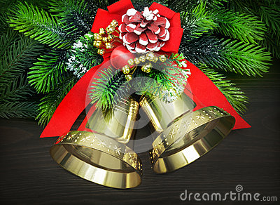 christmas-bells-red-ribbon-pine-twigs-34529055