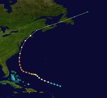 1944 Hurricane tracking map by wikipedia